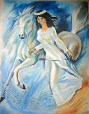 RUSSIAN OIL CANVAS PAINTING SIVUKHIN NAIVE FOLK ART GIRL PORTRAIT FANTASY 2003