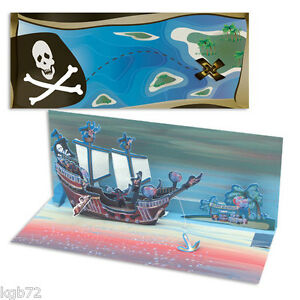 3D A053 Pirates Pop Up Card Panoramic Greeting Card by Up With Paper Panoramics