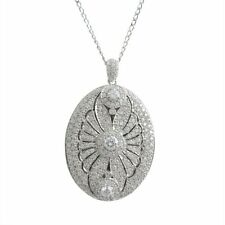 Sterling Silver CZ Scalloped Womens Oval Locket Pendant Necklace