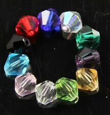 100 Pcs Swaro/vski 6mm Bicone Crystal beads C Multi-colored