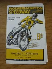 20/10/1967 Speedway Programme: Wolverhampton v Newport  (Light Crease, Results N