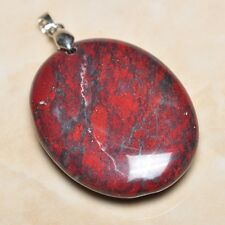 "Extremely Red Natural Bloodstone 925 Sterling Silver Clasp 2"" Pendant #007"