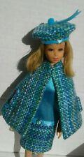 FOR Barbie's cousin FRANCIE vintage  Reproduction Cape, Dress, Beret' Blue