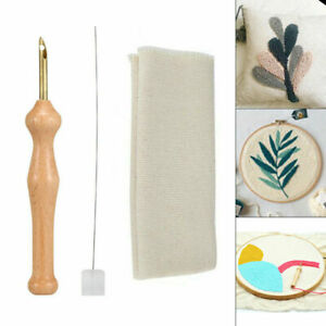 DIY Embroidery Pen  Punch Needle Knitting Sewing Tool + Cloth Set Wooden Handle