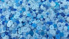 100 BLIZZARD BUTTONS, ASSORTED STYLES, SIZES, SNOWFLAKES, BLUES, WHITES & MORE