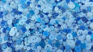 100 BLIZZARD BUTTONS, ASSORTED STYLES, SIZES, SNOWFLAKES, BLUES, WHITES, FROZEN