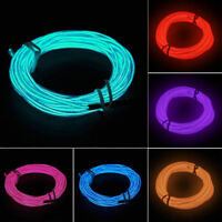3/5M Neon LED Light Glow EL Wire String Strip Rope Tube Decor Car Party+Controll