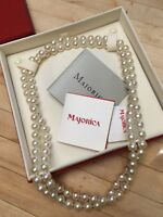 Majorica 8mm White Pearl Endless Strand Necklace + Bracelet + Earrings