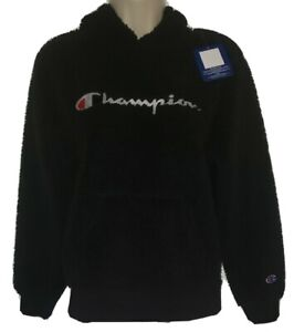 Champion fleece Hoodie Pullover Thermal Lined Size L Unisex Junior Black NWT