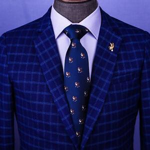 Special Fun Blue Bulldog Designer Tie 8cm Necktie Holiday Accessory