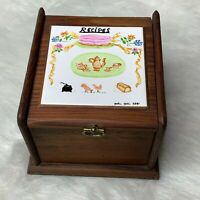 Vintage Wood Recipe Box Hinged Lid Signed and Dated 1981