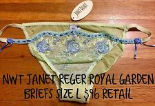 NWT JANET REGER Royal Garden London Mesh Lace Bikini Briefs Green Blue Roses $96