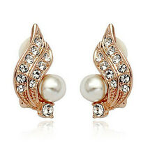Xmas Clip On Cream Ivory Pearl & Rhinestone Crystal Stud Gold Diamante Earrings
