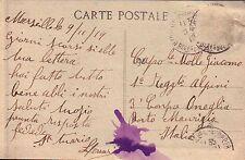 CARTOLINA MARSIGLIA PER MILITARE R.E. 1° RGT ALPINI A IMPERIA ONEGLIA  C6-277