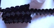 Chenille Braid, 7/8 inch wide black color  selling by the yard