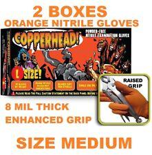 COPPERHEAD Orange Nitrile Gloves, 8 mil, Powder Free, 2 BOXES, SIZE M, MEDIUM