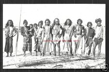 Moro People rppc Men long Hair Sulu Mindanao Philippines 30s