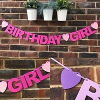 Birthday Girl Banner, Bunting Birthday party decoration Childs 1st 2nd 3rd 4th
