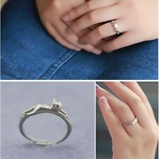Charm Hot Wedding Adjustable Lovely Open Silver Plated Cat Jewelry Ring Kitten
