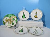 Steampunk Christmas Tree Plates Dessert Snack Boxed Set of 4 Boston Warehouse