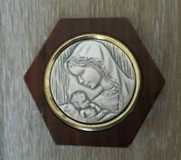 CREAZIONI ARTISTICHE MADONNA Argento 925 Silver Medal Wood Frame Made in Italy