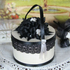 Dollhouse ARTISAN BLACK & WHITE LACE HAT BOX Vtg Miniature Artist Made Handmade