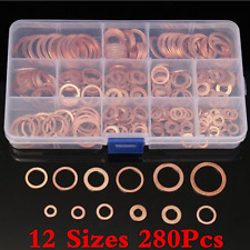 Assorted 280 Pcs Solid Copper Crush Washers Seal Flat Ring Oil Sealing Washers