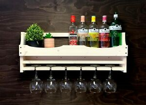 Large Shabby Chic Wooden Gin Rack Shelf Wine 6 Gin Balloon Glass Holder (6GSC)