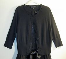 ST JOHN FA 10 GRP 1 Black Embellishment/Crystal Stone buttons Sweater/Cardigan M