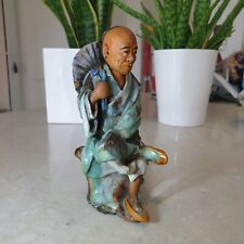 GOOD ANTIQUE CHINESE MING / QING POTTERY STATUE OF A SEATED MONK BUDDHA