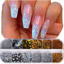 Nail Art Glitter Powder Dust UV Gel Acrylic Powder Sequins Nails Tips yb UK