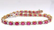 6.88ct bright red natural ruby diamonds alternating tennis bracelet 14kt