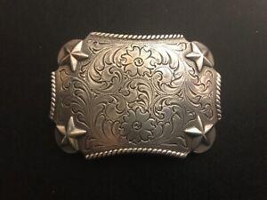 Floral engraved,Western,cowboy,rodeo,trophy,stars belt buckle.Silver plaiting .