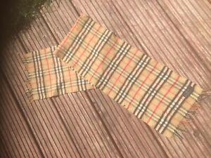 Vintage Burberrys Scarf Nova Check Beige Cashmere wool  Authentic nova check
