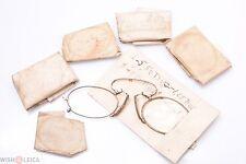 ✅ ANTIQUE PINCE, PINCH NEZ GLASSES SPECTACLES & 6 SPARE GLASSES ELEMENTS