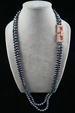 36/37 inches 8-9mm Double-Strand Peacock Pearl Necklace with Ornament