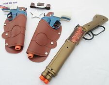 3x Toy Guns Western Peacemaker Revolver Pistols w Holsters & Repeater Rifle Set