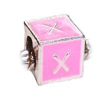 Alphabet Letter X Initial Pink Enamel Cube Charm Gift for European Bead Bracelet