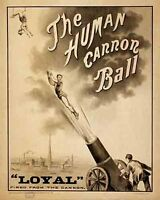 Vintage Antique Rare  POSTER   The Human Cannonball  Carnival Circus   1910's