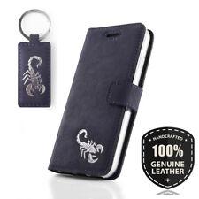Surazo ® Premium Véritable Cuir Sac Housse Wallet Case Bleu-Motif Scorpion