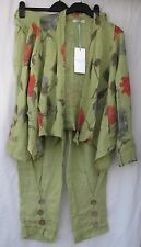 LADIES MADE IN ITALY GREEN LINEN TROUSERS WITH MATCHING FLORAL JACKET X LARGE