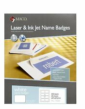 MACO Laser/Ink Jet White Name Badge Labels, 2-1/3 x 3-3/8 Inches, ML7000