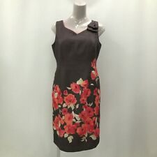 Jacques Vert Dress UK 16 Women Brown Red Floral Pencil Formal Occasion 281044