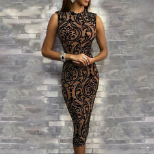 Women Sleeveless Vintage O-Neck Slim Floral Print Dress Party Cocktail Dress CA