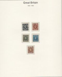 GB STAMPS 1934 KING GEORGE V HIGH VALUE DEFINITIVES ON PAGE FROM COLLECTION