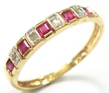 SYJEWELRYEMPIRE 10KT YELLOW GOLD NATURAL RUBY & DIAMOND BAND RING SIZE 7  R1081
