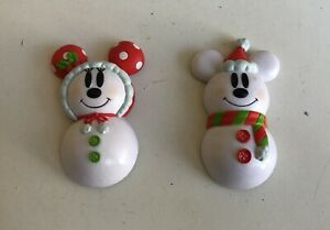 2 X Tokyo Disney Resort Fridge Magnets Mickey Minnie Mouse Christmas 2007 Used