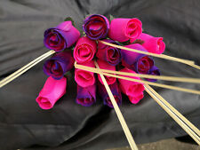 Roses Bouquet Wooden Flowers Wood Artificial Birthday, Pink Purple,Pink