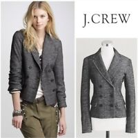 J. Crew 10 Marled Thandie Wool Cotton Blend Gray Double Breasted Button Blazer