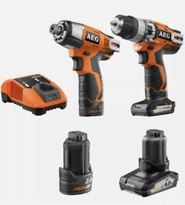 AEG 12V Cordless Hammer Drill Impact Driver Kit 2 & 4 Ah Battery + Charger